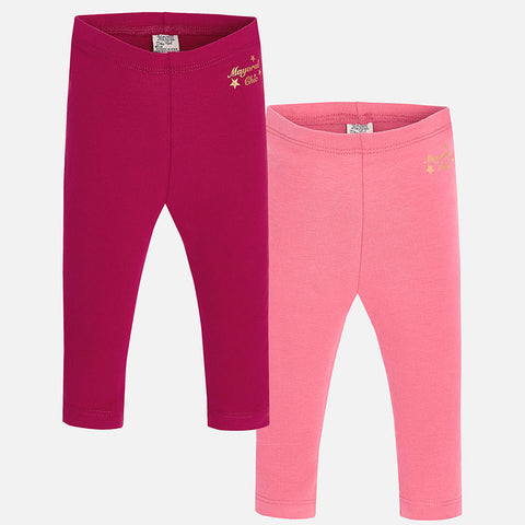 Mayoral Girls Set of 2 Leggings Style 702 Grosella and Pink Size 24 Months