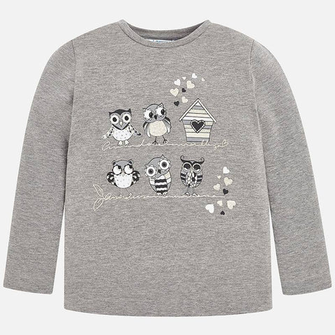 Girls Mayoral 2 Piece Set Grey Owl Top with Heart Leggings Style 4070