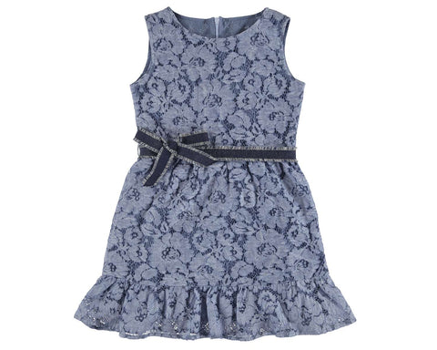 Mayoral Girls Denim Lace Dress Style 6941 Sleeveless