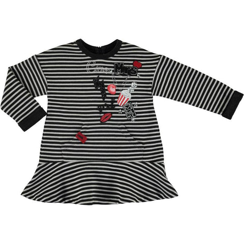 Mayoral Girls Black and White Striped Tunic or Dress Style 4977