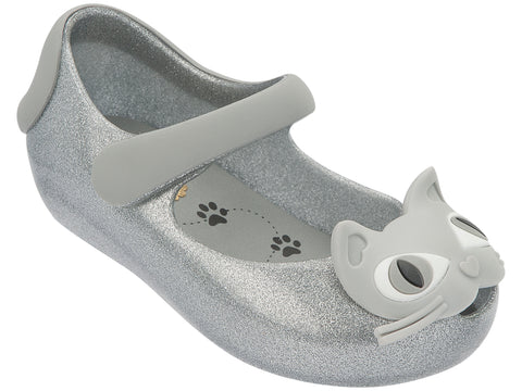 Girls Mini Melissa Ultragirl II Shoes 30901 in Silver Glitter 52533 Cat Kitty