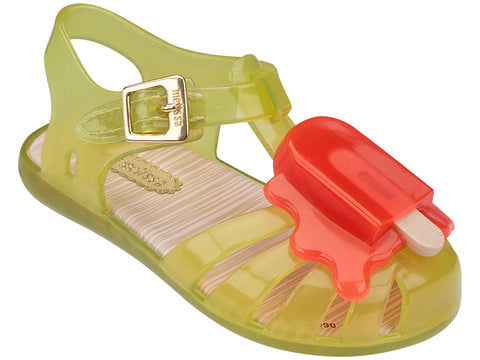Girls Mini Melissa Aranha VIIIBB 50890 Yellow Sandal with Orange Popsicle 31704