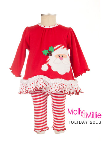 Baby Girls Molly & Millie Size 6/9 Months Only Santa Face 2 Piece Set Style 93-9223