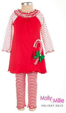 Girls Molly & Millie 2 Piece Candy Cane Pajama Set Size 4 Only Style 93-3213