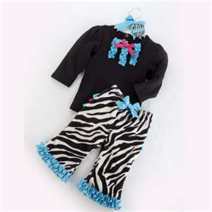Mudpie Girls Wild Child Zebra 2 Piece Pants Set 190007-18 Size 12 to 18 Months Only