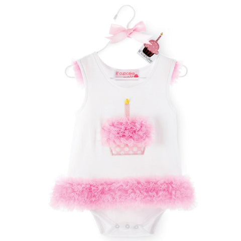 Mudpie Baby Girls All in One Lil' Cupcake Dress or Onesie Size 12 Months Only Item 171970