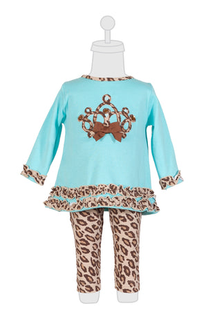 Baby Girls Molly & Millie 2 Piece Set Tourquoise with Animal Print Trim Crown Applique - Runwayz Boutique