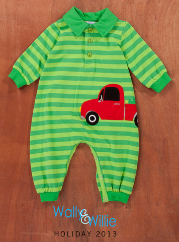 Baby Boys Wally & Willie Green Footless Romper with Red Truck Style 93-9161