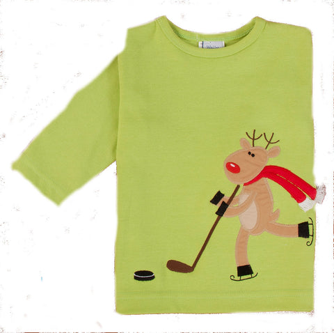 Boys Rheindeer Hockey Long Sleeved Green Top Style 93-2263A