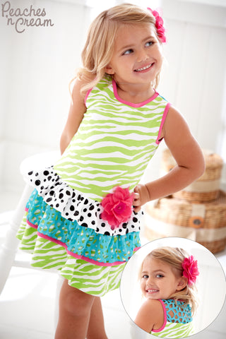Girls Peaches 'n Cream Tiered Dress Style 34-2501 or 34-3501