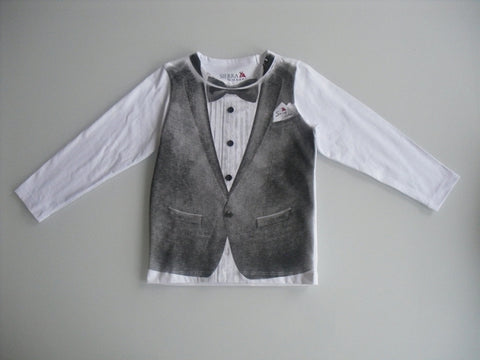 Sierra Julian Boys Long Sleeved Tuxedo Shirt Forino S1W13BK05 Last One Size 8