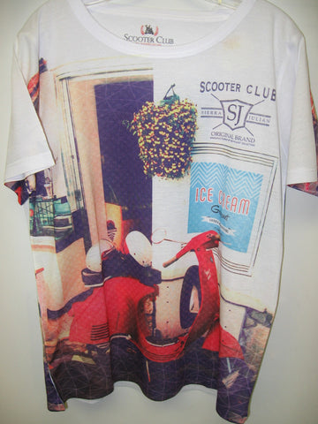 Boys Sierra Julian Scooter Club Red Moped Scooter Print White Tshirt C1S16813 Mariano