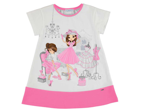 Mayoral Girls Shoe Shopping Print Dress in Bubblegum Pink style 3945