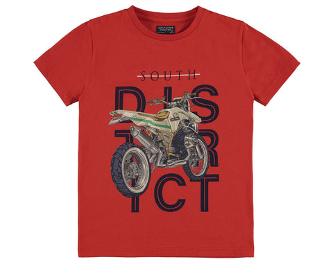 Boys Nukutavake Mayoral South District Motorcyle Tshirt Orange Style 6049