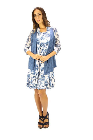 Ladies Tango Mango Blue Flowered Cardigan Long Sleeve style T5393 - Runwayz Boutique