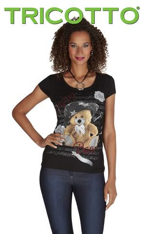 Ladies Tricotto Short Sleeved Top with Teddy Bear - Runwayz Boutique