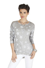 Ladies Mode Tricotto Grey Star Print Top Tunic Sweater