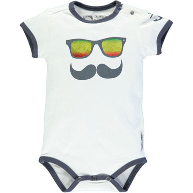 Baby Boys Newborn Tumble 'n Dry Brave Onesie with Mustache and Sunglasses Size 9 Months Only - Runwayz Boutique