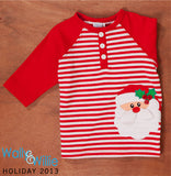 Baby Boys Striped Polo Shirt with Santa Face Size 12 Months Only Style 93-1262C