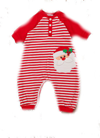 Baby Boys Santa Face Red and White Striped Footless Romper Style 93-9162