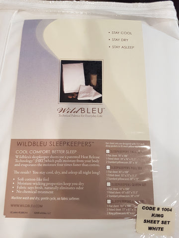 Wild Bleu Sleepkeepers King Sheet Set White Code # 1004