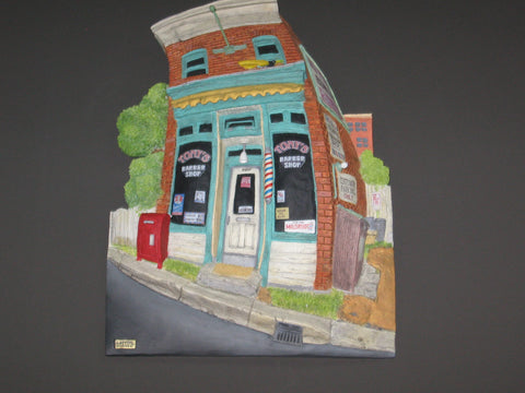 Tony's Barber Shop by John Larter Curbside Collection 3D Wall Hanging