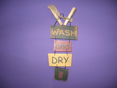 Wash and Dry wood sign wall hanging decor - Runwayz Boutique