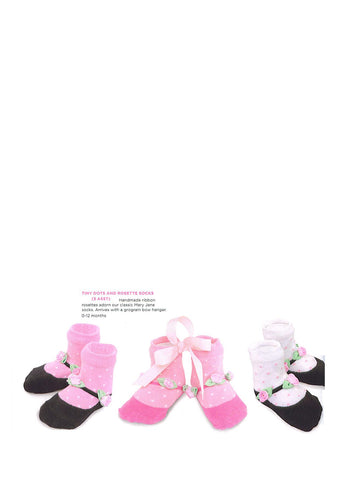 Mudpie Baby Girl Tiny Dots Roset Socks Pink with Black Mary Jane Look Size 0-12 Months Item 171406 - Runwayz Boutique