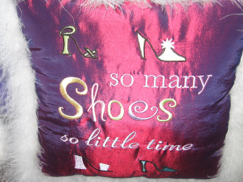 Shoes Pillow with Feather Trim