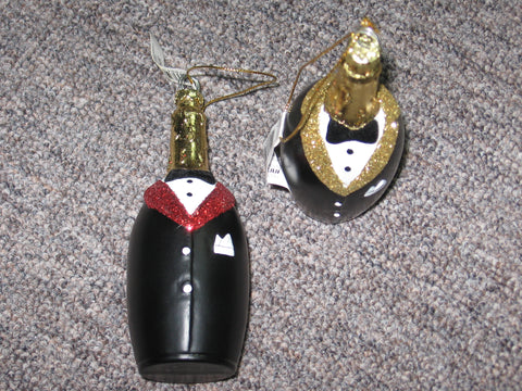 Red tuxedo champagne bottle ornament