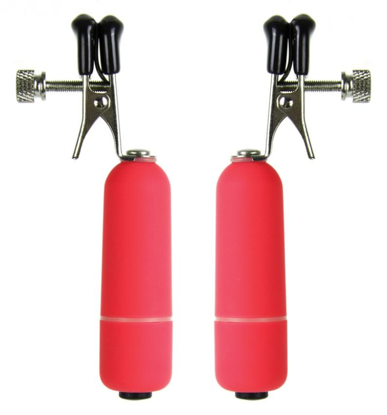 Vibrating Nipple Clamps - Red