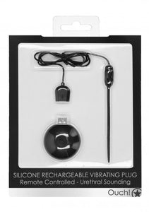 Silicone Rechargeable Vibrating Plug Remote Controlled - Urethral Sounding - Black