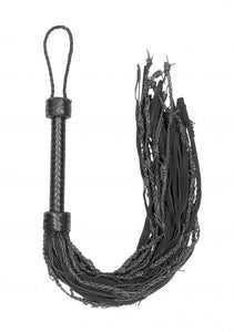 Leather Suede Barbed Wired Flogger - Black