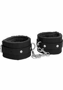 Ouch! Plush Leather Hand Cuffs - Black