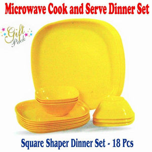 Trust Microwave Cookware / Dinner Set 18 Pieces Square Shape - halfrate.in