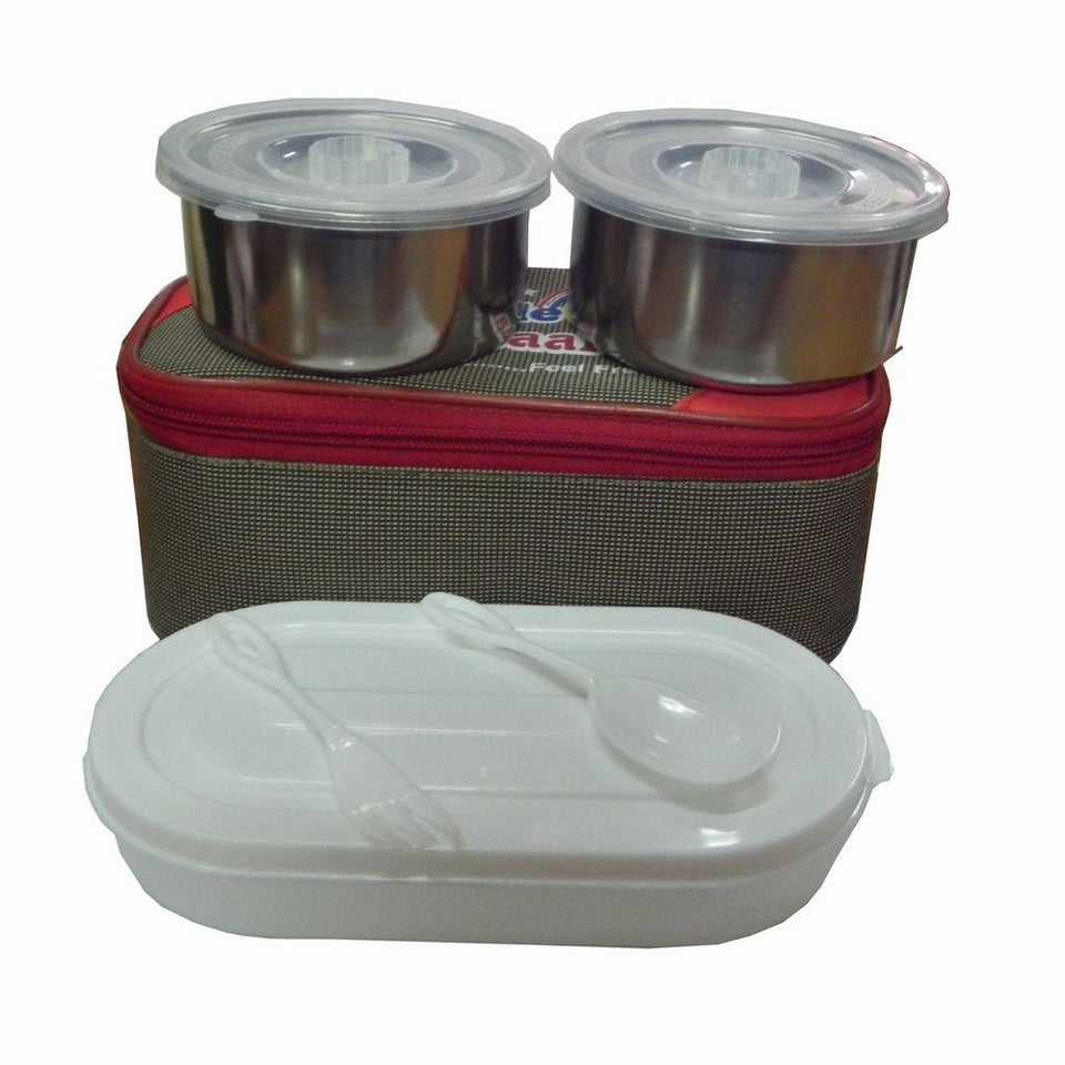 Insulated bag Lunch Box With 2 Stainless steel and 1 Plastic compartment - halfrate.in