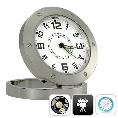 Heavy Metal Table Analog Clock Pinhole Hidden Camera Video Audio Camcorder spy - 16 GB Expendable - halfrate.in
