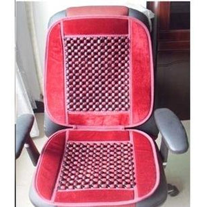 Car Bead Seat Wooden-Acupressure (Red) - halfrate.in