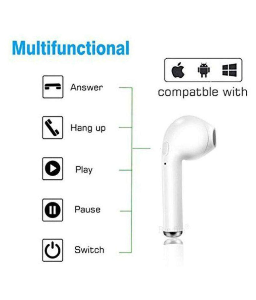 Ekdant® I7 Single Bluetooth In Ear Wireless Earphones With Mic - halfrate.in