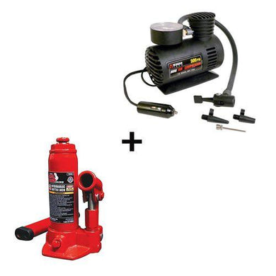 Car Special Combo - 2 Ton Hydraulic Jack + Air Compressor - halfrate.in