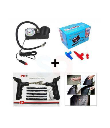 Car Emergency Combo - Air Compressor + Tyre repair Kit - halfrate.in