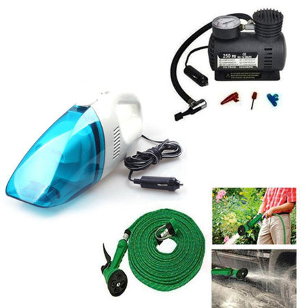 Car Utility Combo - Air Compressor + Water Gun + Car Vacuum Cleaner - halfrate.in
