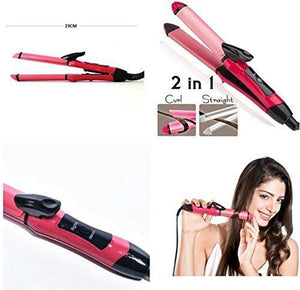 Ratehalf® Professional 2 IN 1 Hair Curler and Straightener NOVA NCH-2009 - halfrate.in