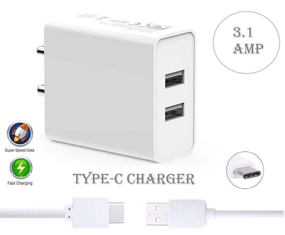 Dual port charger Type C android mobile fast charger Adapter Wall Charger | Mobile Charger | Fast Charger | High Speed Charger with 1 M Type C Charging Data Cable (3.1 Amp, White) - halfrate.in