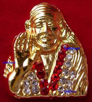 Sai Baba Multi color CZ Diamond Gold plated Pendent