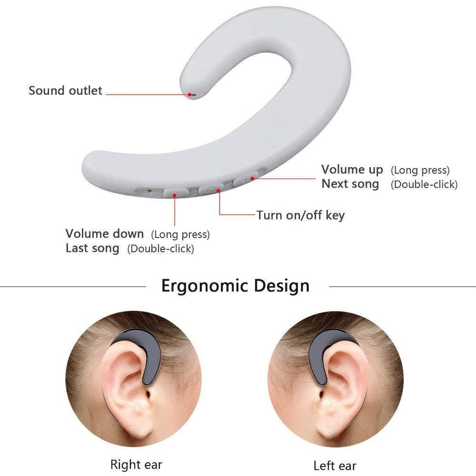 Ekdant®Ear-Hook Wireless Headphones, Non Ear Plug Headset with Ceramic Chip Bone Conduction, Hands-Free Noise Cancelling Wireless Earphones - halfrate.in