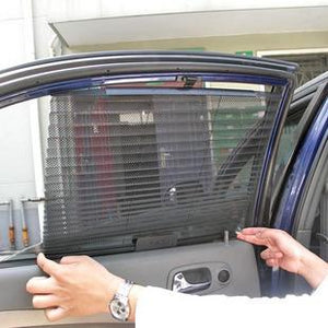 2 Pc Auto Retractable Car Side Window Shade Curtain Sunshade Shield - halfrate.in