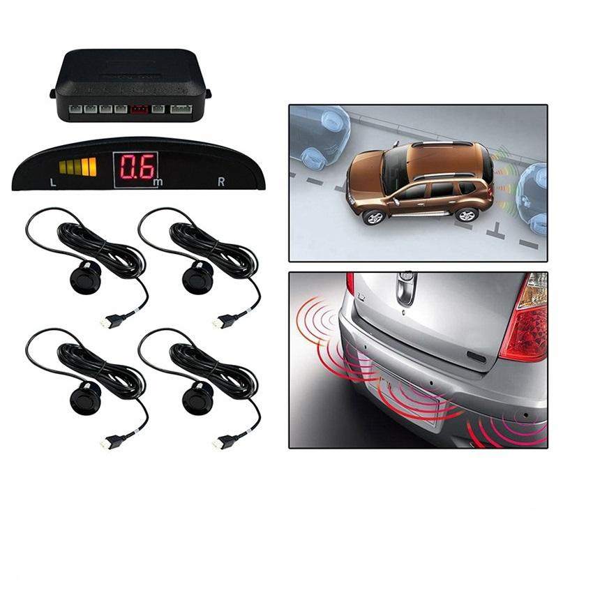 Car Reverse Parking 4 Sensor Security Led Display BLACK With Buzzer & Display - halfrate.in