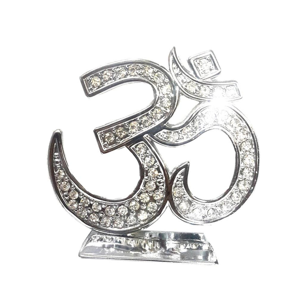 Zircon Studded Silver plated Om Symbol - For Car, Home , Office - halfrate.in