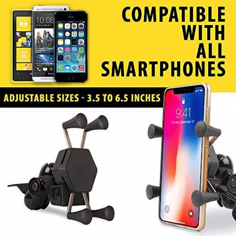 Universal Bike Mobile Holder Mount Cradle Bike with Mobile Charger USB Port for Bikes Motorcycles Scooters Bicycle Activa